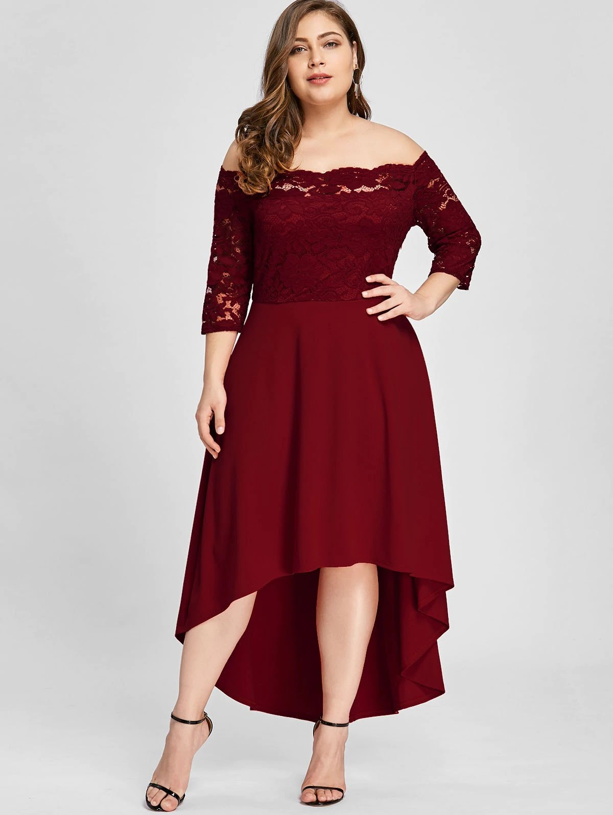 Plus Size Lace Off Shoulder Flare Dress