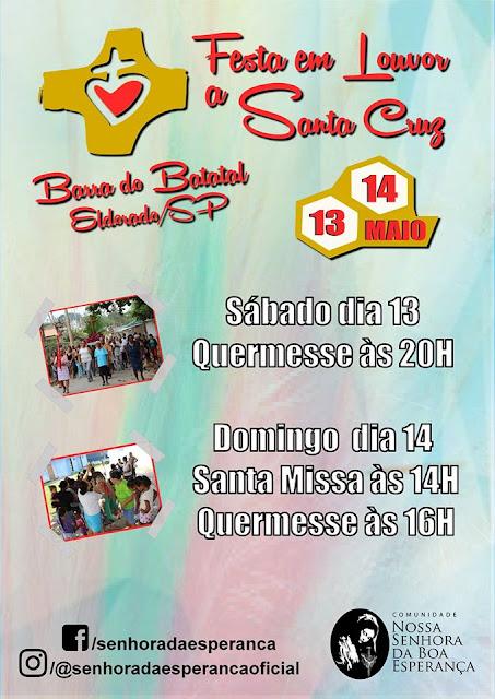 Festa em louvor a Santa Cruz no bairro Batatal em Eldorado-SP entre 13 e 14 de maio