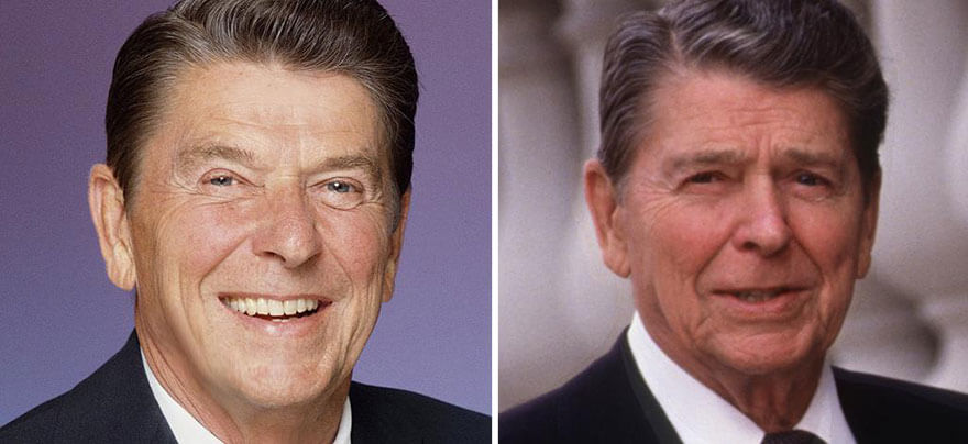 15 Before And After Photos Of US Presidents Depict How Their Job Transformed Them - Ronald Reagen (1981-1989)