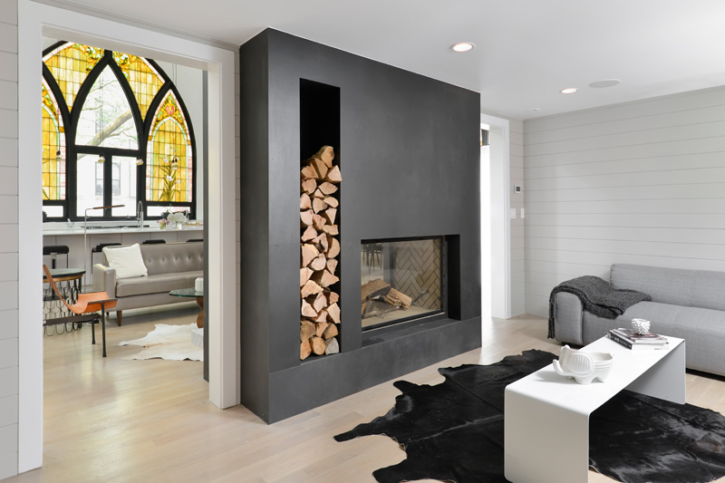 Stained glass in modern home Church conversion in Chicago