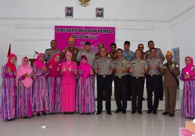 Ketua Bhayangkari cabang Kota Tanjungpinang Ibu Wiwit Ardiyanto hadir dalam kegiatan HUT ke 18