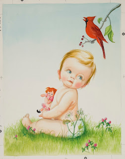 Illustration of baby holding a doll and looking at a cardinal singing