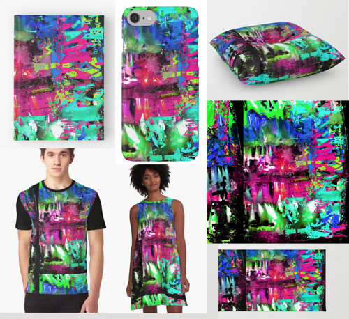 Abstract art of Caspian light show on Society6 and Redbubble merch from Susan Phillips Hicks of Melasdesign.