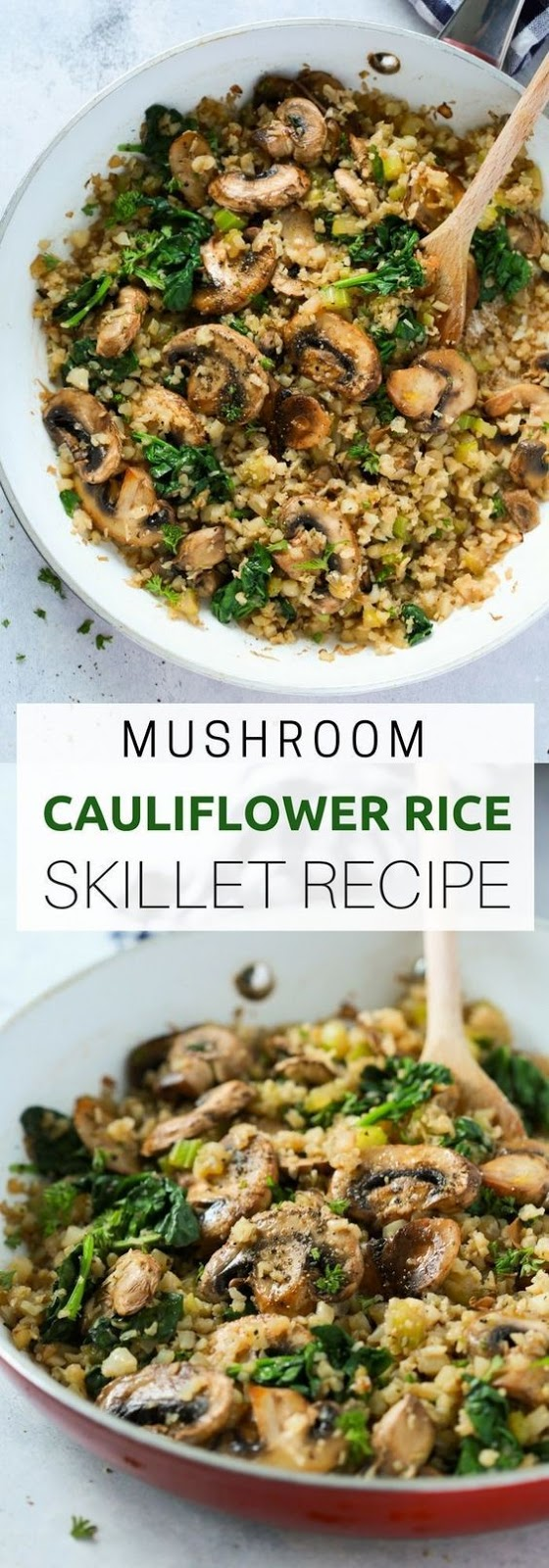Mushroom Cauliflower Rice Skillet Recipe #mushroom #cauliflower #rice #skillet #healthyfood #healthyrecipes