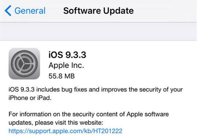 Apple konfirmasi mengenai problem di iOS 9.3.3