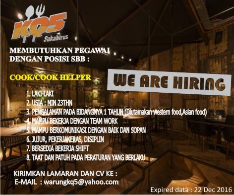 Lowongan Kerja Warung KQ-5 ( Food & Beverage ) Bandung