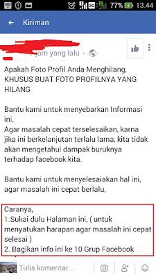 status hoax karena foto profil tidak muncul