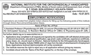 NIOH Kolkata Recruiting Assistant Professor, Lecturer, Resident Medical Officer and Physiotherapist Posts