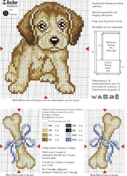 Perrito con huesos a punto de cruz   Nuevos gráficos gratis