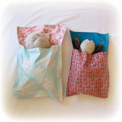 image tutorial diy sleeping bag for toys plush softies two cheeky monkeys