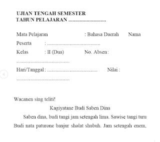 Soal UTS PTS Bahasa Jawa Kelas 2 Semester Genap