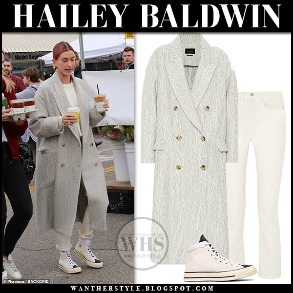 Hailey Baldwin in grey isabel marant habra coat, beige jeans and high top sneakers casual street style january 13