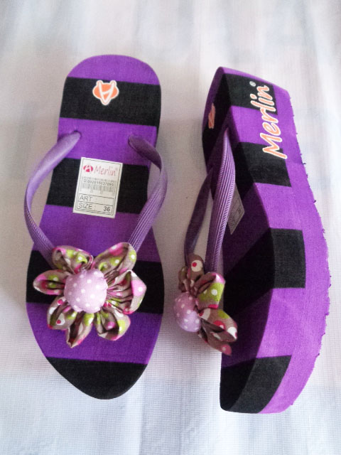 Sandal Merlin ASLI Spon Tebal Blaster ungu hitam terbaik