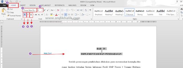 Cara Mengubah teks ( Size, Font, Tebal, Miring, dan Underline ) pada Microsoft Word