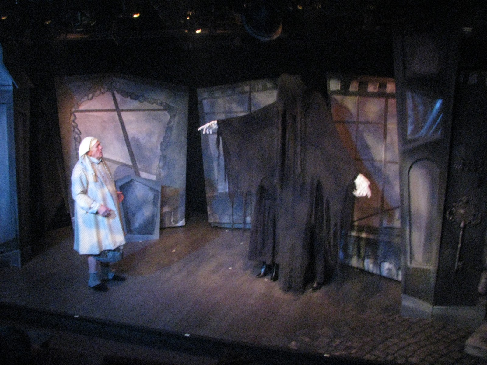 The Ghost Of Christmas Future.Backstage Theatre Blog Scrooge And The Ghost Of Christmas