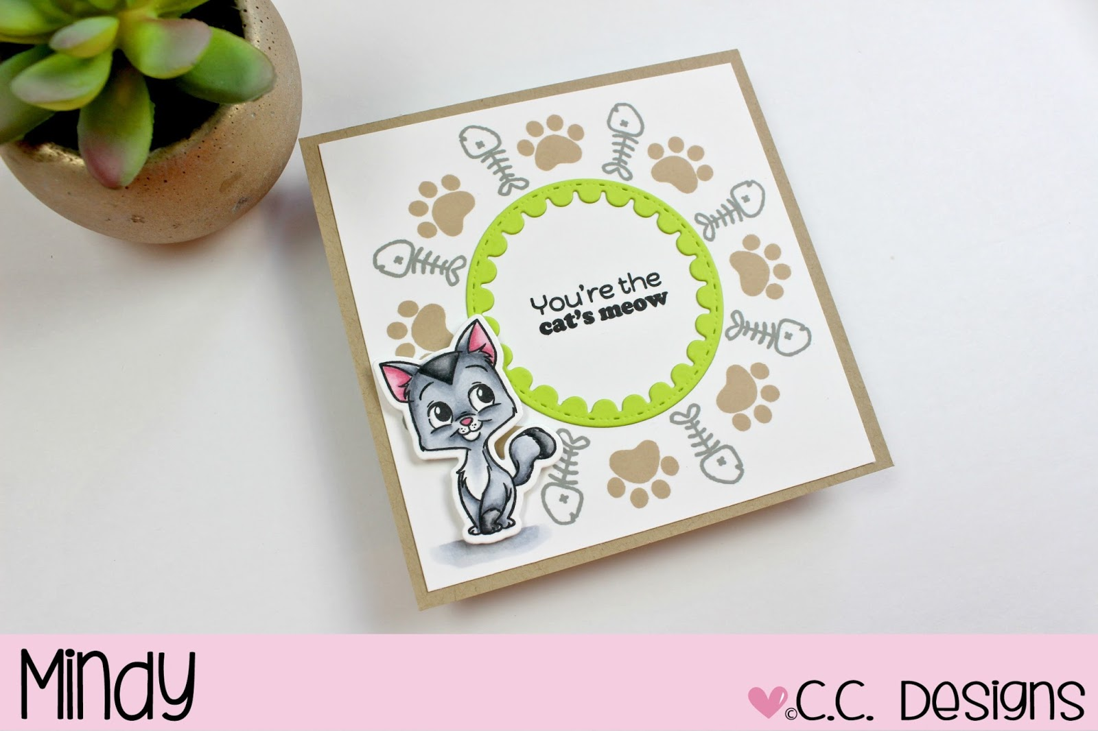 My Kitty Is Stamped On Neenah White Cardstock 80lb With A Copic Friendly Ink And Colored Copics I Also This Fun Sentiment Into The Middle
