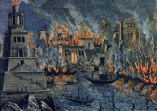 La prima biblioteca del mondo arsa dalle fiamme