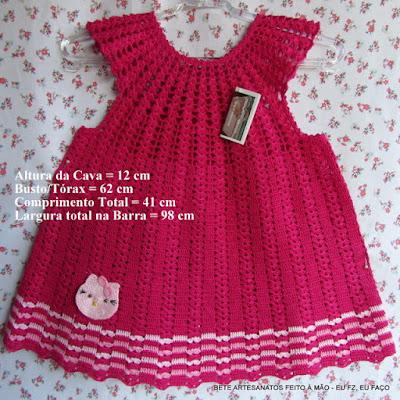 Vestido em Crochê Infantil, Vestidinho em crochê