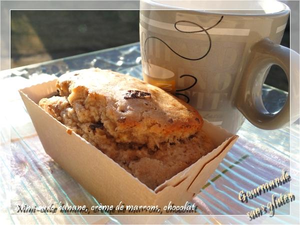 Mini-cakes banane, crème de marrons et chocolat