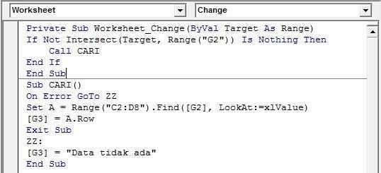 Hasil akhir penulisan kode