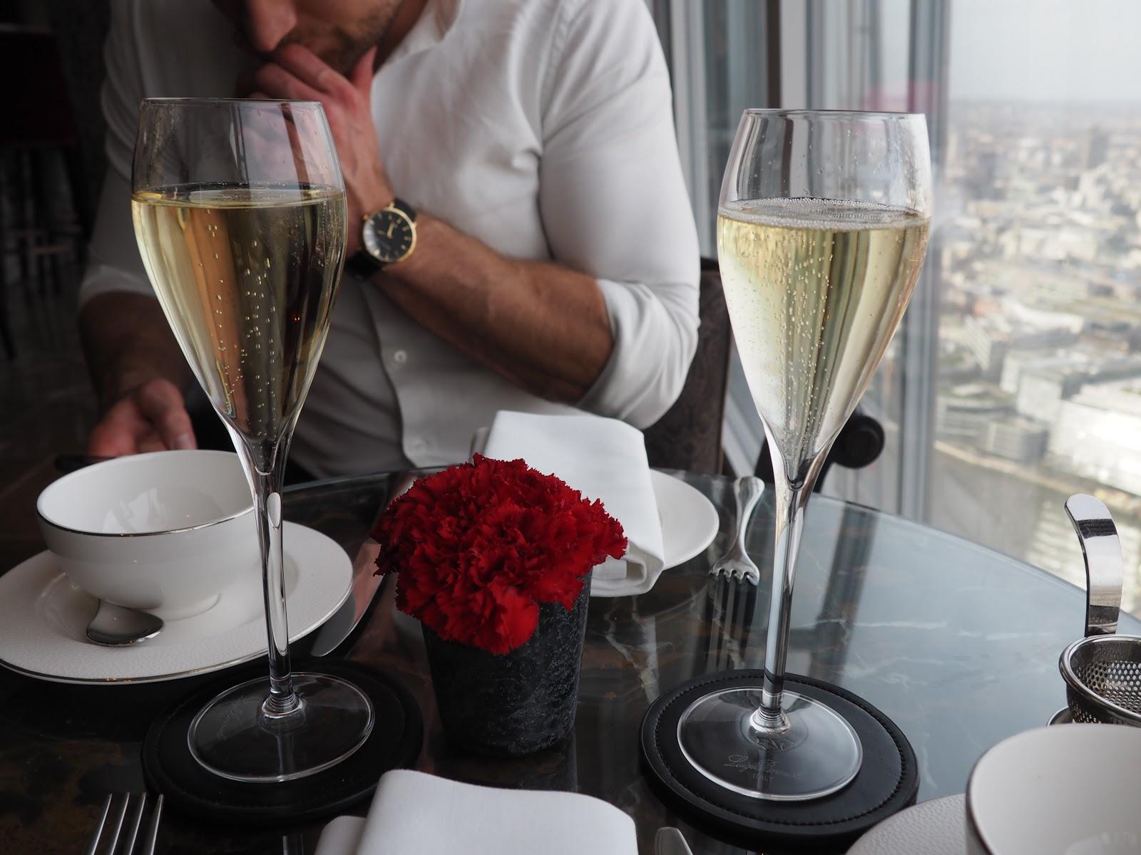 Champagne at Afternoon Tea at GONG Bar at the Shangri La at The Shard