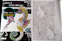AdultColoringBook FISH Relax & Rewind: sea horse whale water waves clams pearls shells jellyfish waterfall