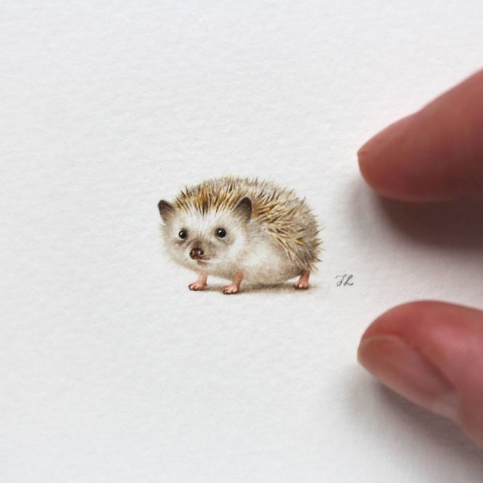 05-Baby-Hedgehog-Julia-Las-Tiny-Animal-Watercolor-Paintings-and-Other-Miniatures-www-designstack-co