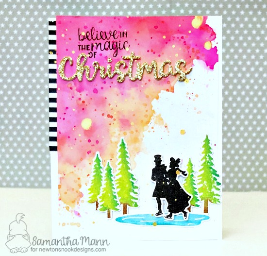 Winter silhouette Ice Skating card by Samantha Mann | Winter Memories Stamp Set and Holiday Greetings Die Set by Newton's Nook Designs  #newtonsnook #handmade