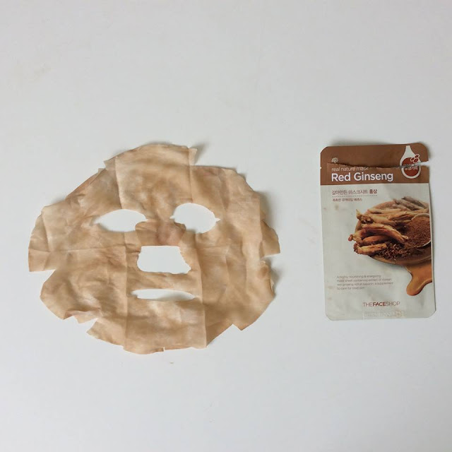 sheet mask, the face shop, red ginseng, brown sheet