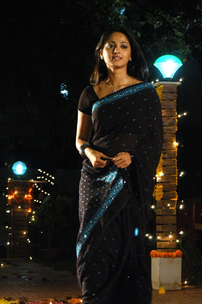 Actress Anushka Shetty Cute In Black Transparent Saree
