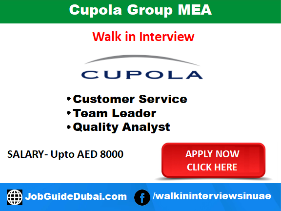 Job in Dubai for Customer Service, Team Leader and Quality analyst at Dubai outsource city