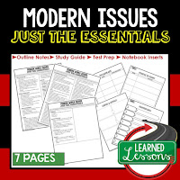 Modern Issues, World History Outline Notes, World History Test Prep, World History Test Review, World History Study Guide, World History Summer School Outline, World History Unit Overview, World History Interactive Notebook Inserts