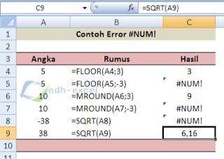 error #NUM! in excel function
