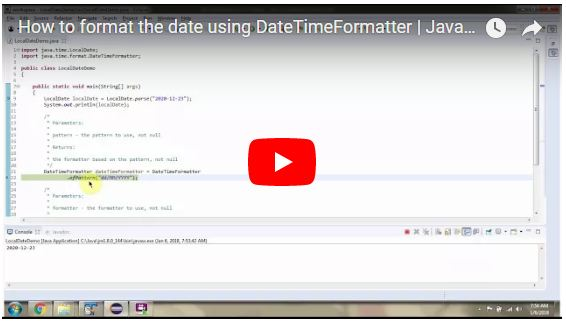 JAVA EE: How to format the date using DateTimeFormatter | Java 8