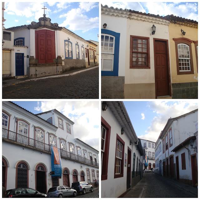 Casario histórico na Rua Getúlio Vargas e Solar da Marquesa de Ituverava - São João del Rei - MG
