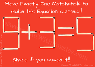 This is matchstick puzzle in which one has to make the given equation 9+3=5 correct by moving just one matchstick