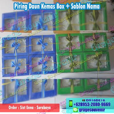 Jual Souvenir Surabaya Murah Piring Daun Kemas Box