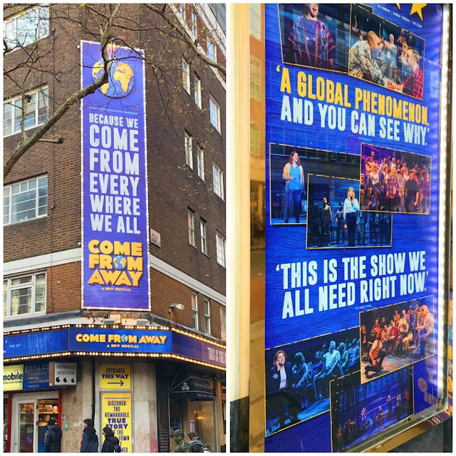 come from away sign and poster collage
