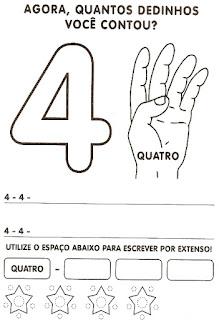 Numeral 4 escrever e colorir