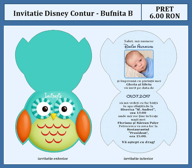 invitatii botez contur Bufnita