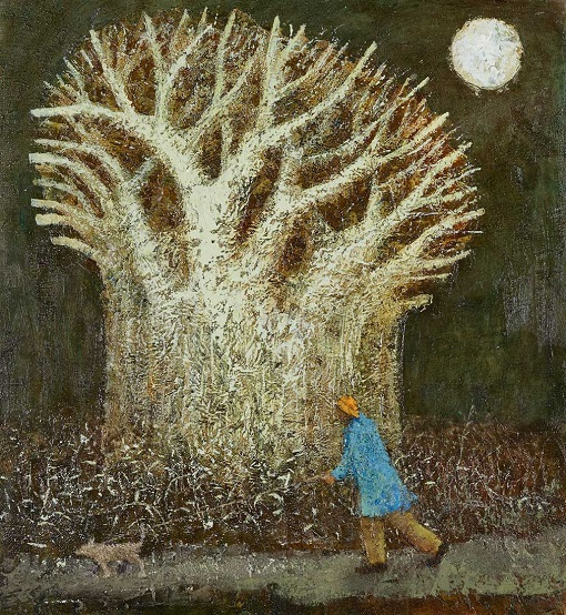 """""""Night Walk"""" painting by Simon Garden - oil on panel, 2017 