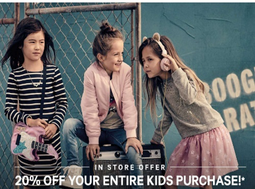 H&M Back To School 25% Off Kids Purchase Coupon