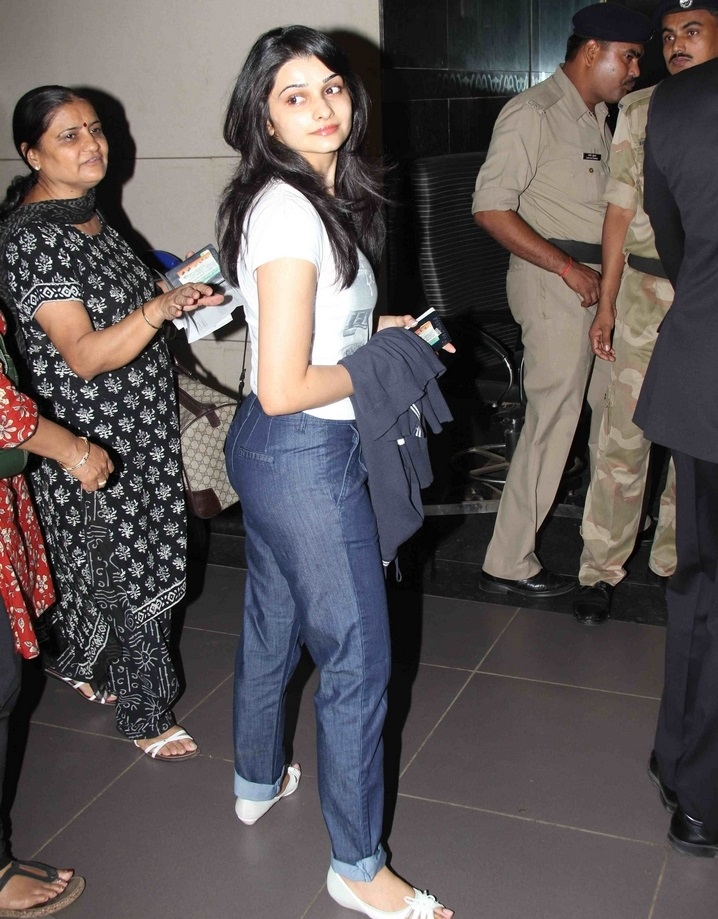 Actress Prachi Desai Long Hair In White T shirt Blue Jeans At Movie Event