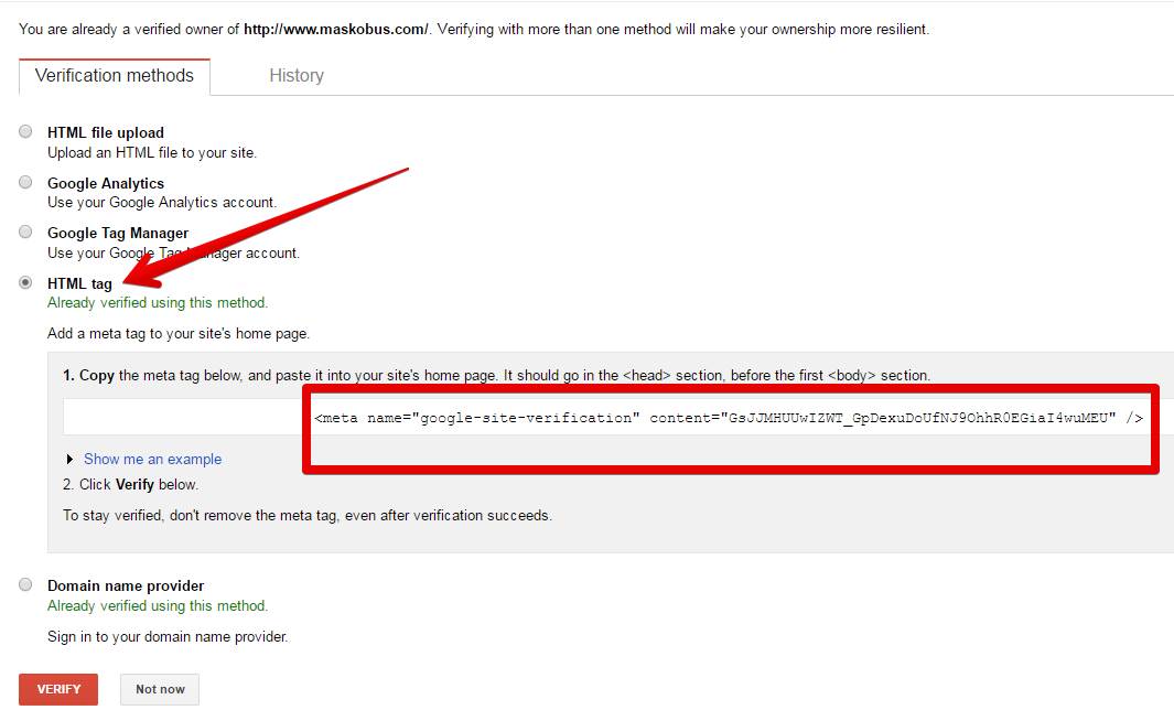 html tag verifikasi google console