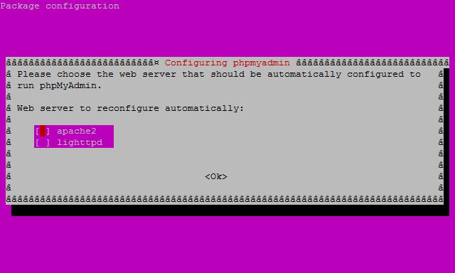 phpmyadmin  server selection