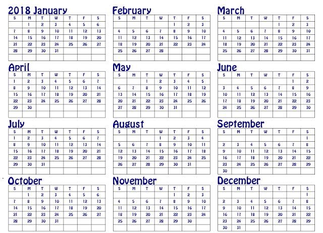 Yearly Calendar 2018, Free Printable 2018 Calendar