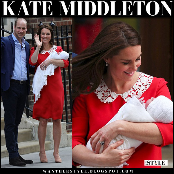 Kate Middleton in red dress with white lace collar jenny packham designer after giving birth outside hospital april 23 2018
