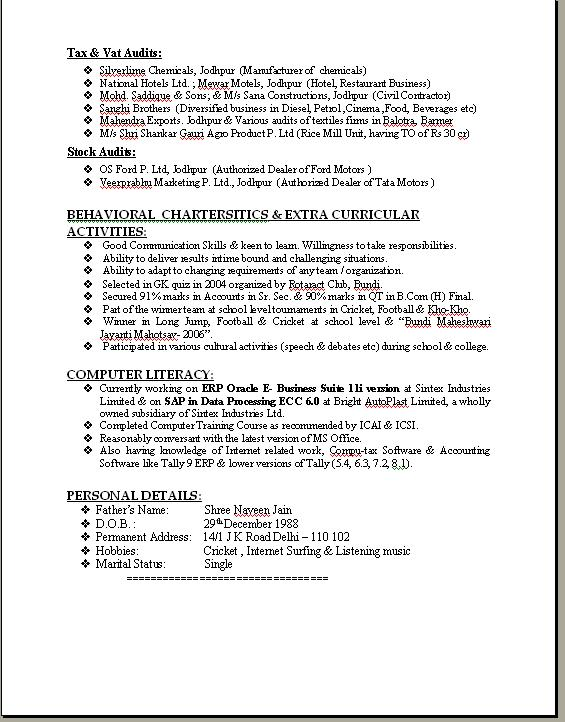 Sample Resume Format For B Pharm Freshers Resume Format For Sample Cv Format  For Freshers Pdf