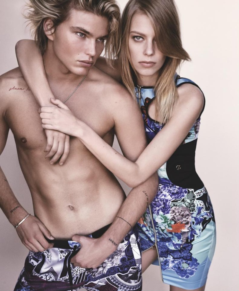 Jordan Barrett and Lexi Boling pose for Versace Jeans spring 2017 collection