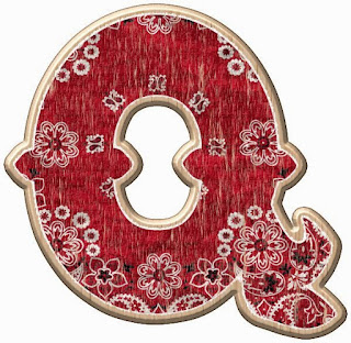 Alfabeto con Tela de Cachemira a lo Cowboy o Vaquero.